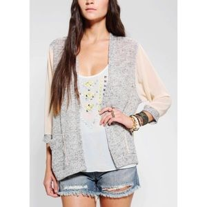 UO Silence + Noise chiffon cardigan Open front L
